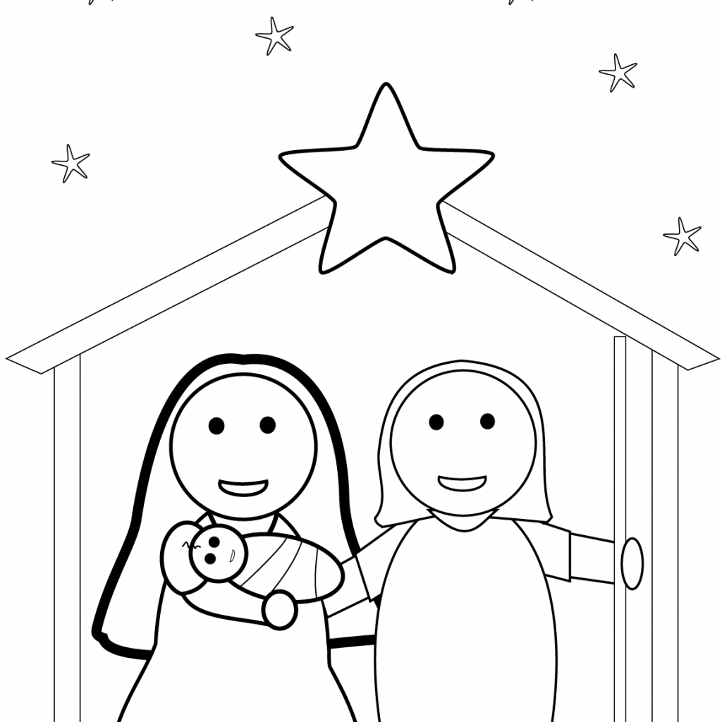 Christmas Coloring Pages Manger With Nativity Scene Page Free Printable New