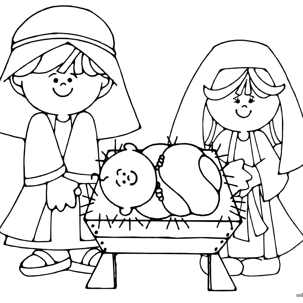 Christmas Coloring Pages Manger With Nativity To Print Free Books