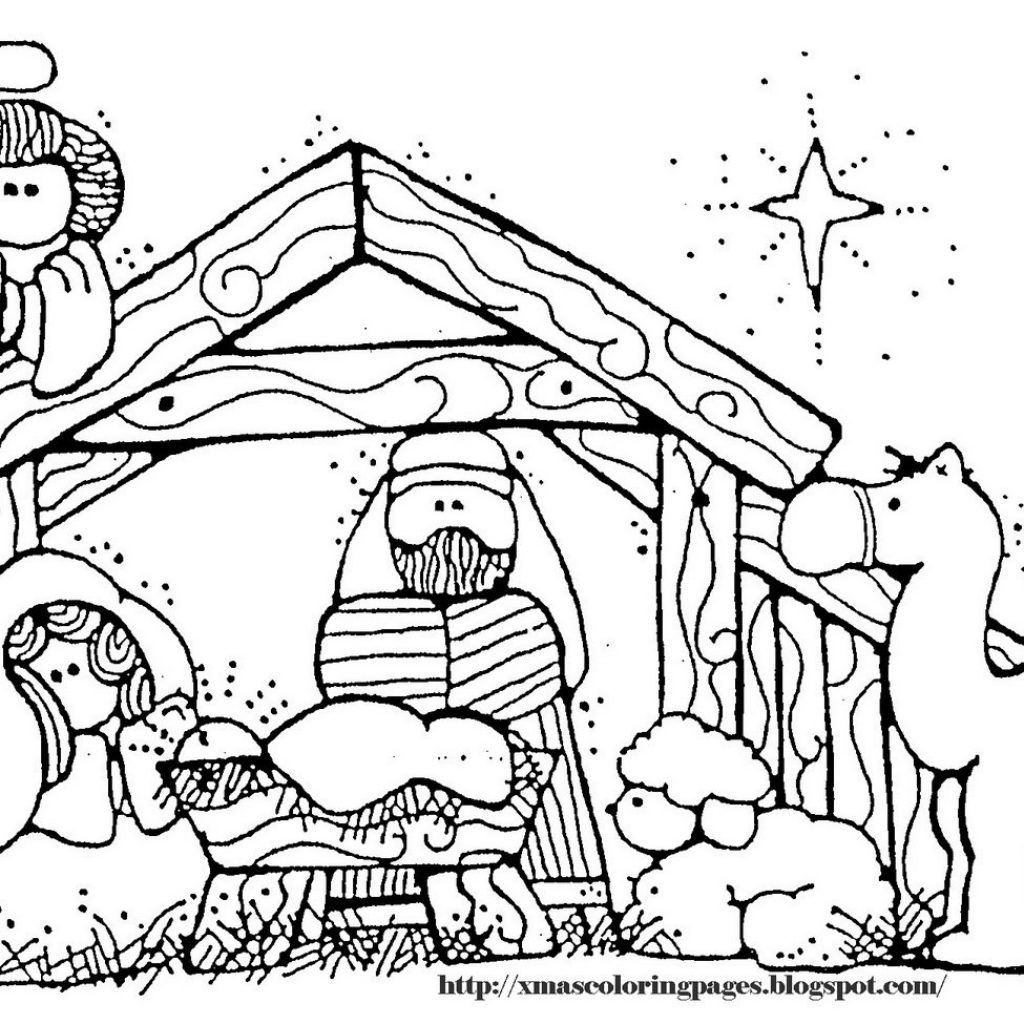 Christmas Coloring Pages Manger With Page Of Scene Printable