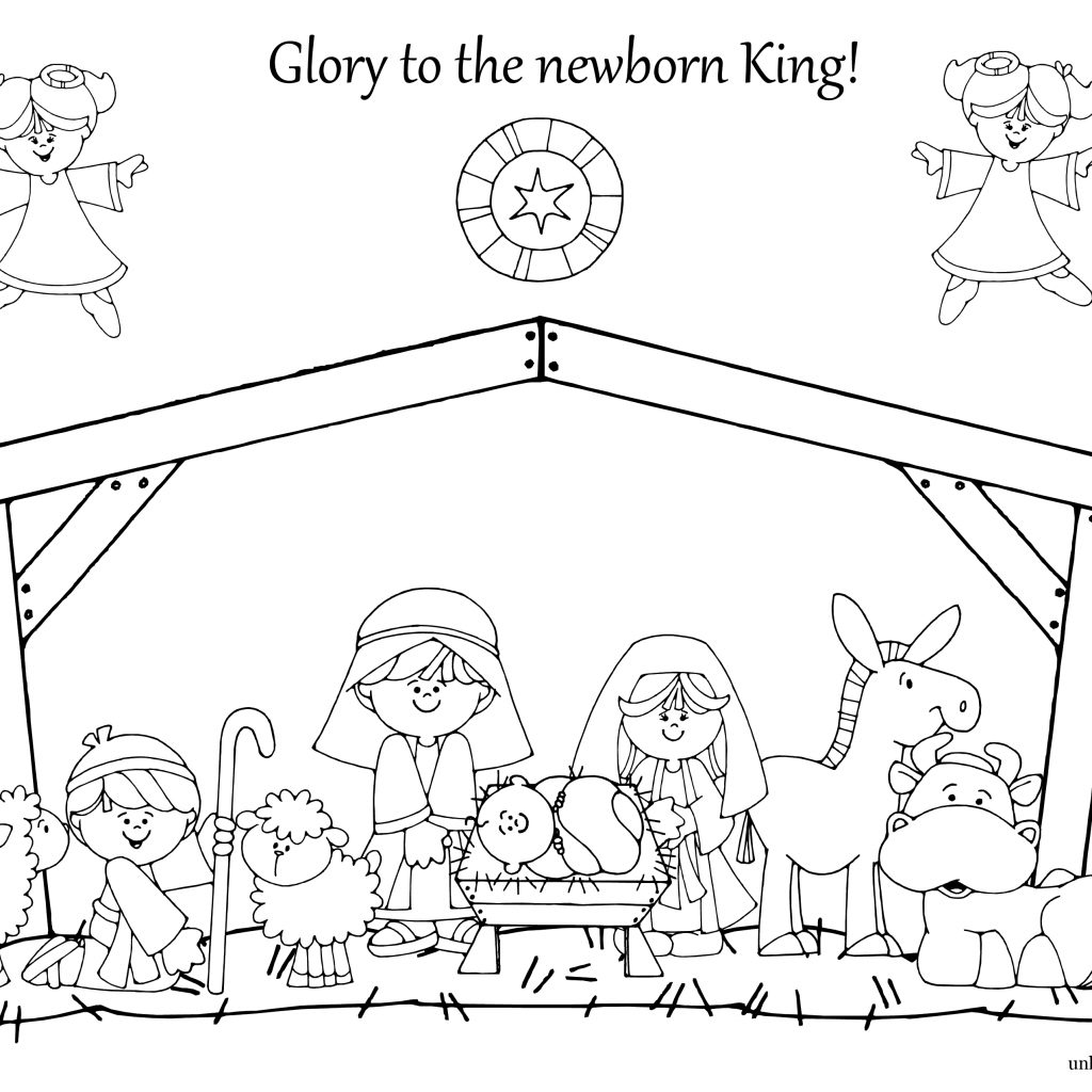 Christmas Coloring Pages Manger With Unique Nativity Dot To Printables Collections