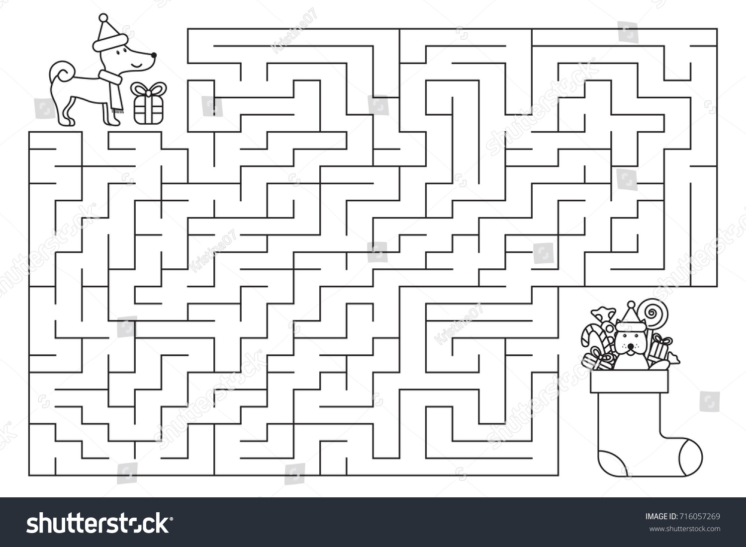 Christmas Coloring Pages Mazes With Holiday Maze Kids New Year Stock Vector Royalty Free