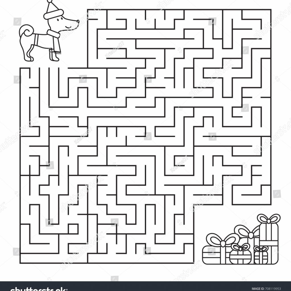 Christmas Coloring Pages Mazes With Maze Children Funny Dog Looking Stock Vector Royalty Free