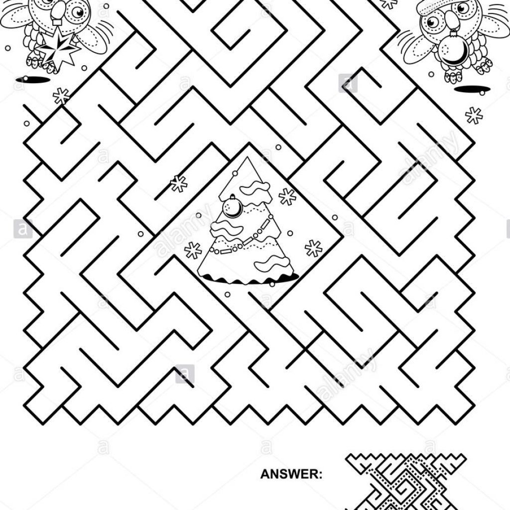 Christmas Coloring Pages Mazes With Maze Game And Page Help The Owls Get To Tree