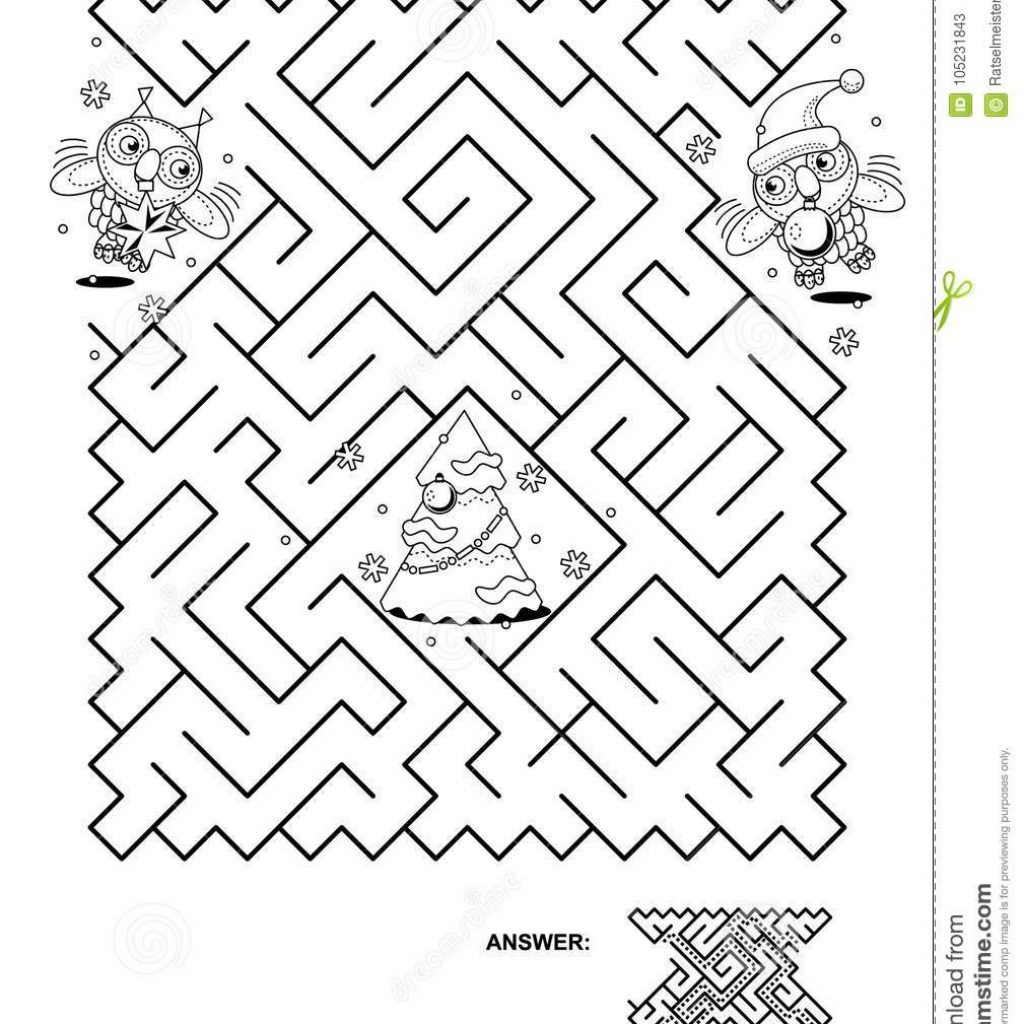 Christmas Coloring Pages Mazes With Maze Game For Kids Owls Trim The Tree Stock Vector