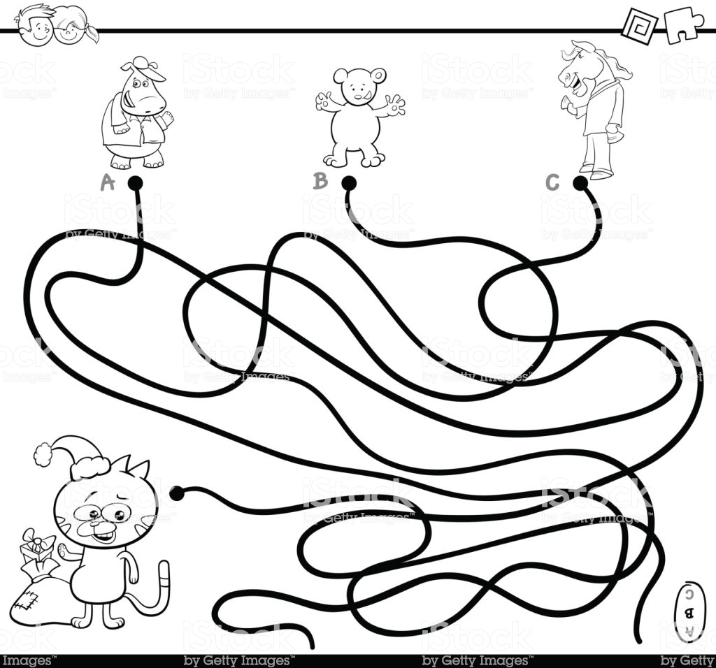 Christmas Coloring Pages Mazes With Path Maze Game Page Stock Vector Art More Images Of