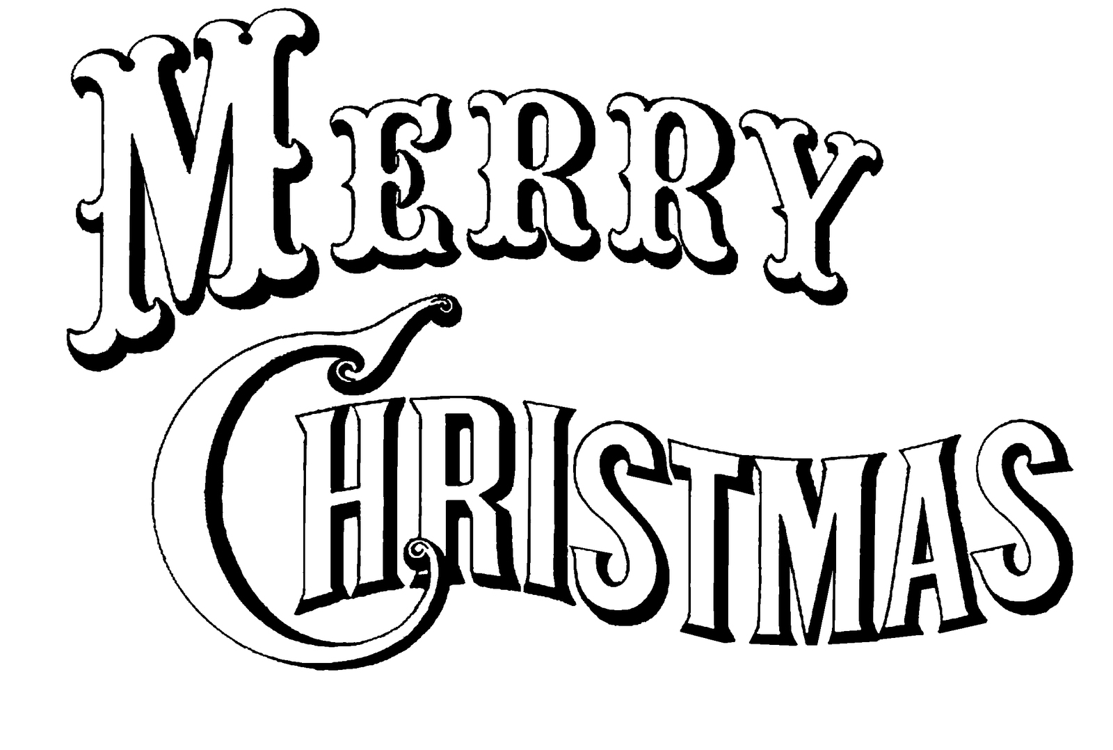 Christmas Coloring Pages Merry Sign With Free Printable