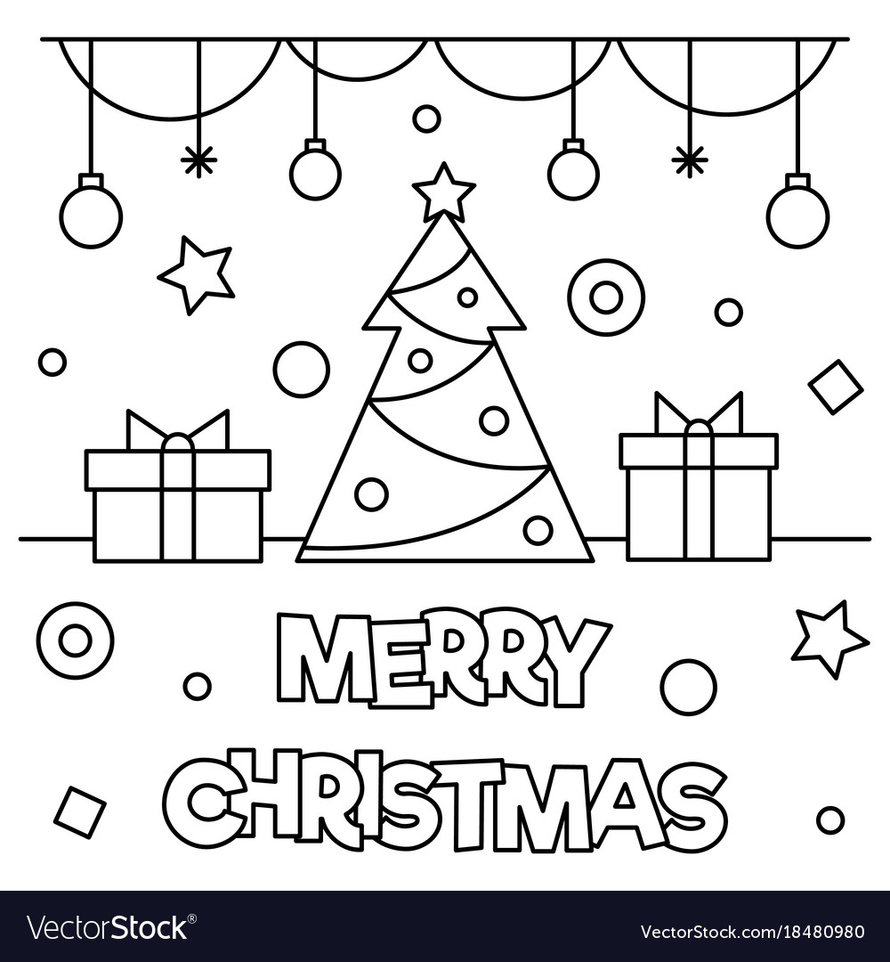 Christmas Coloring Pages Merry Sign With Page Royalty Free Vector Image