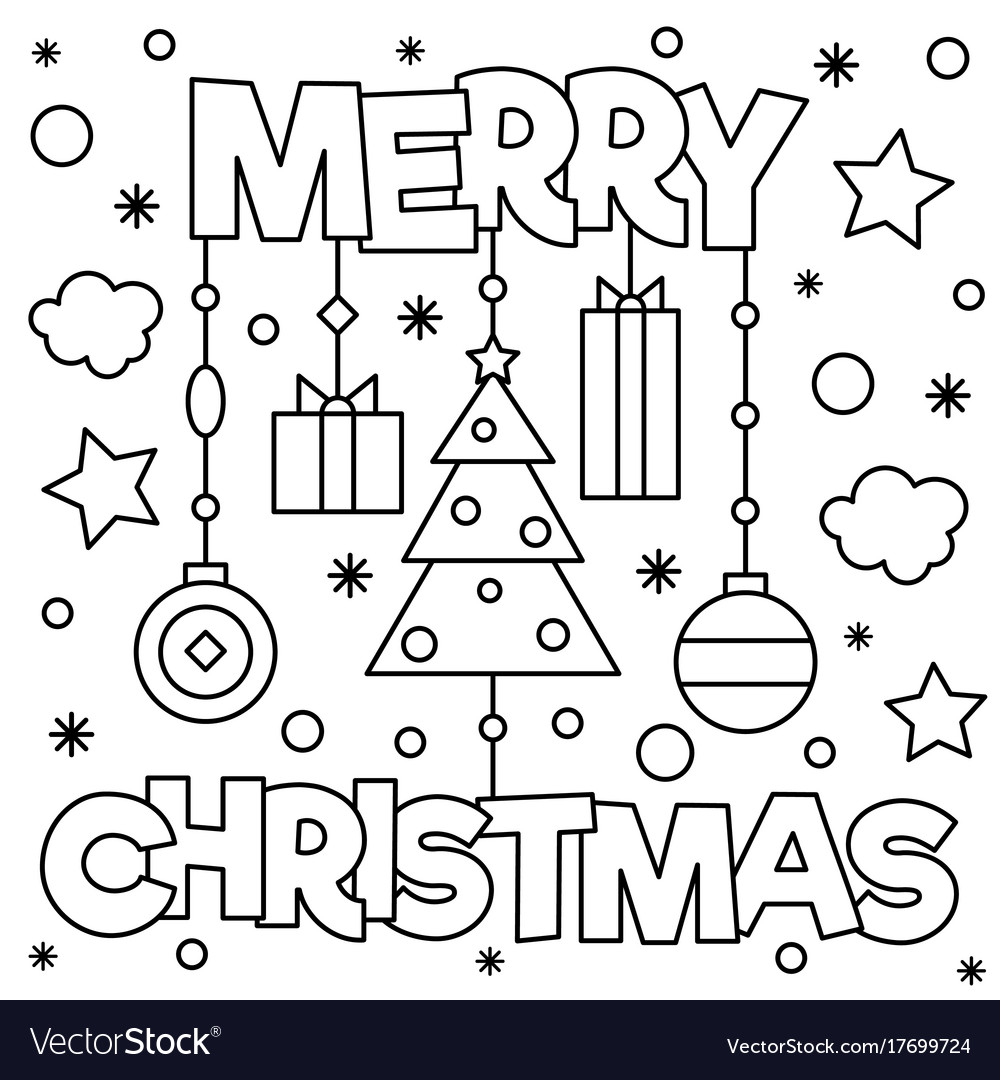 Christmas Coloring Pages Merry With Page Royalty Free Vector Image