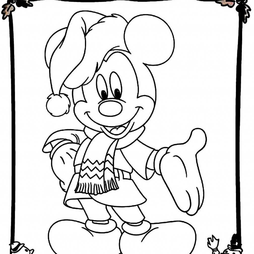 Christmas Coloring Pages Mickey Mouse With