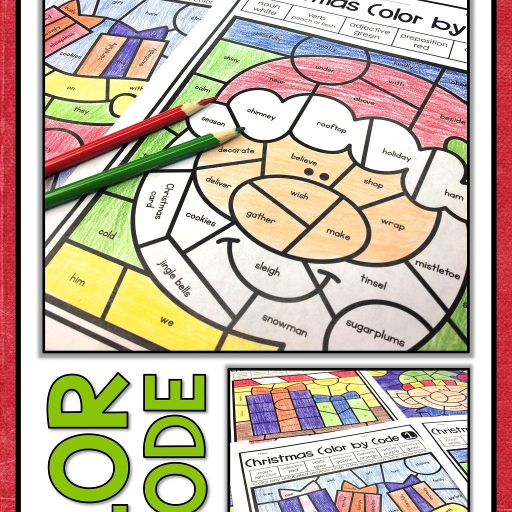 Christmas Coloring Pages Middle School With Parts Of Speech Color By Number