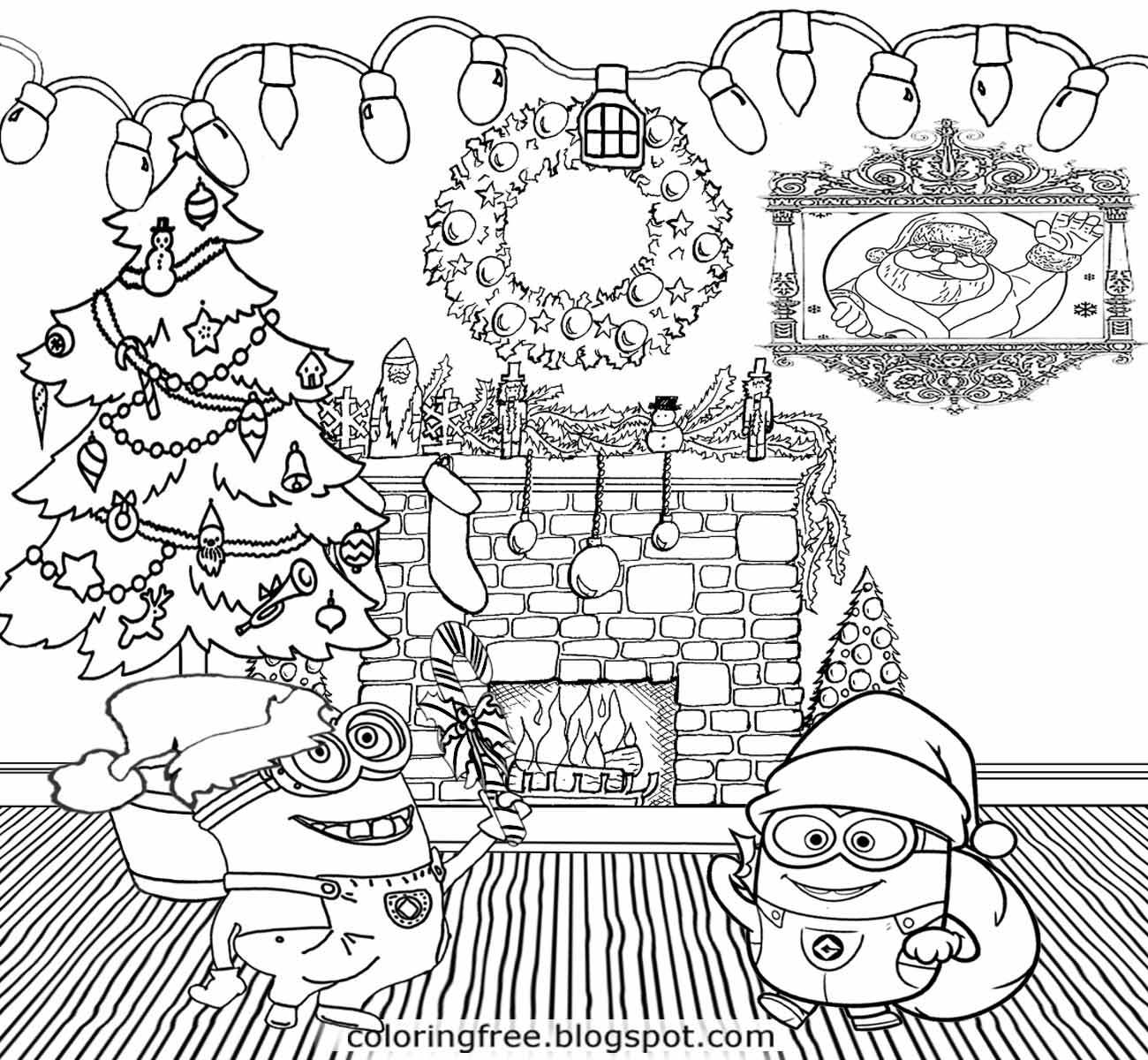 Christmas Coloring Pages Minion With Printable Free And Color Online Runninggames Me