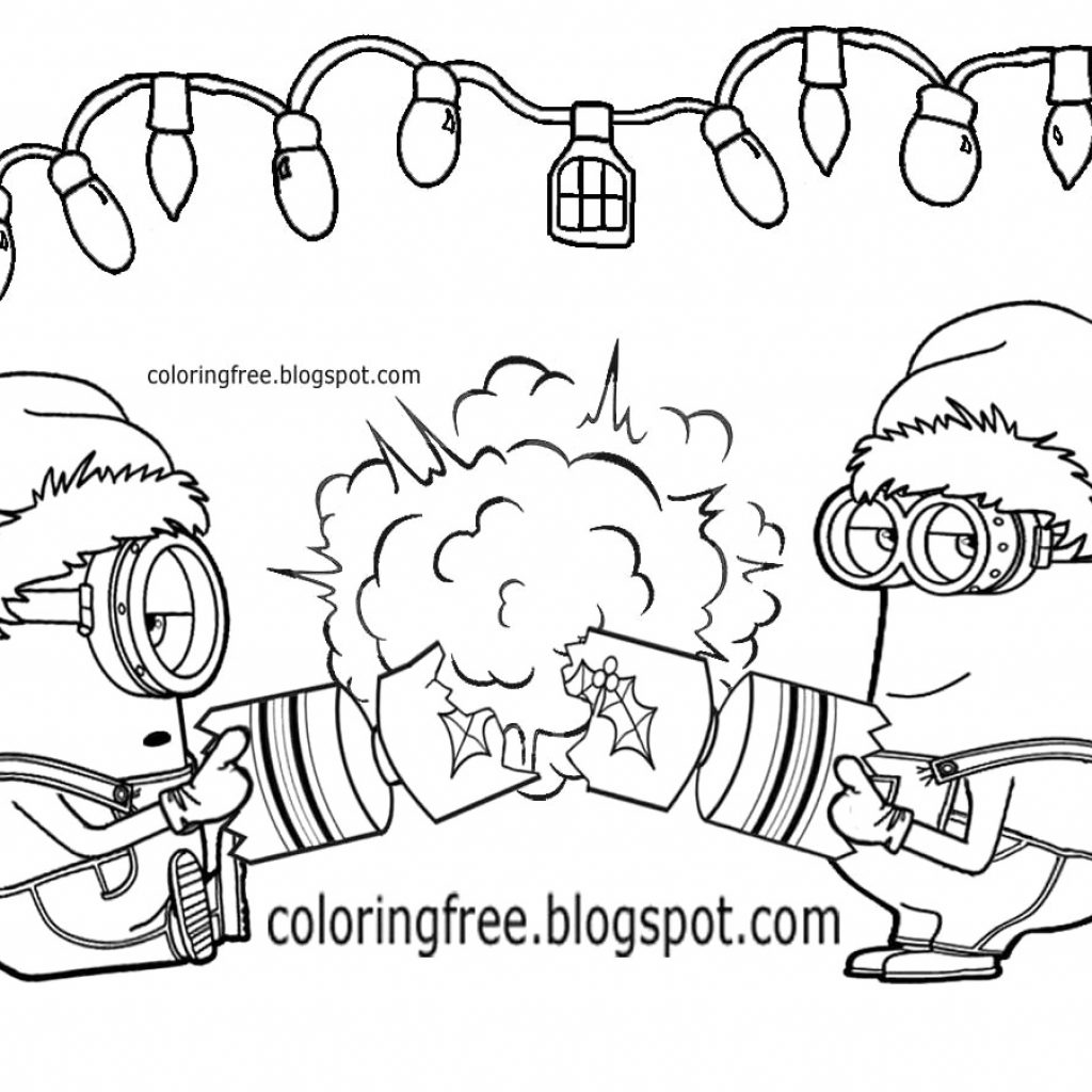 Christmas Coloring Pages Minion With Printable Page