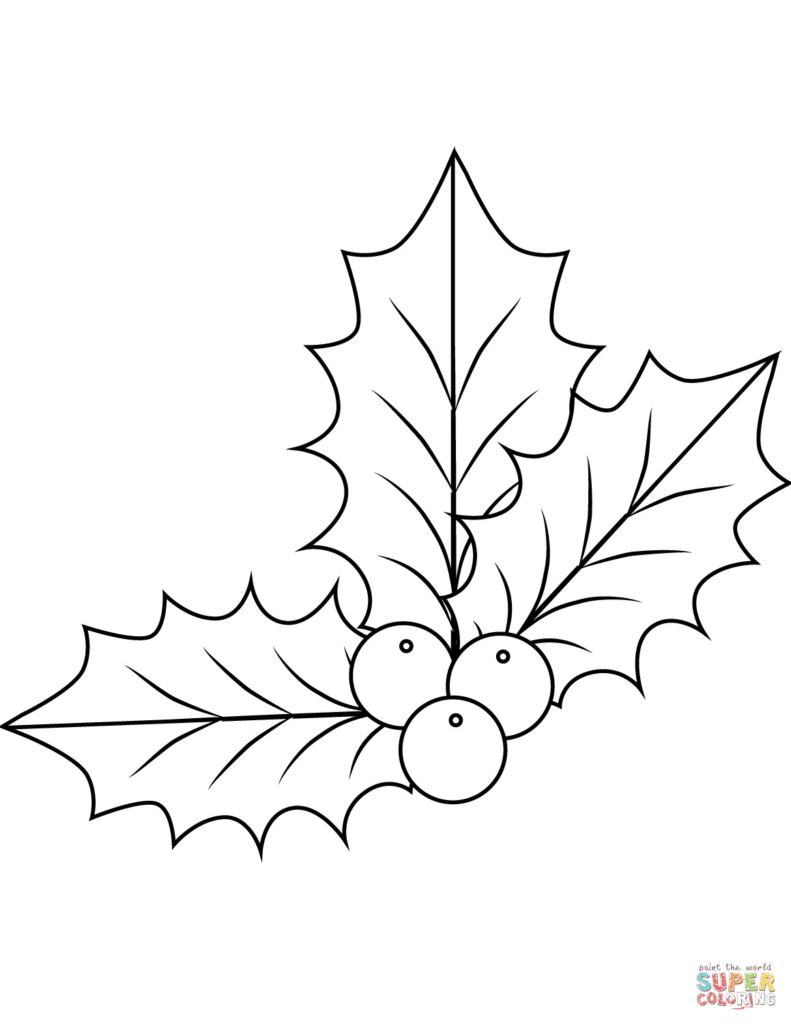 Christmas Coloring Pages Mistletoe With Decoration Free Beautiful