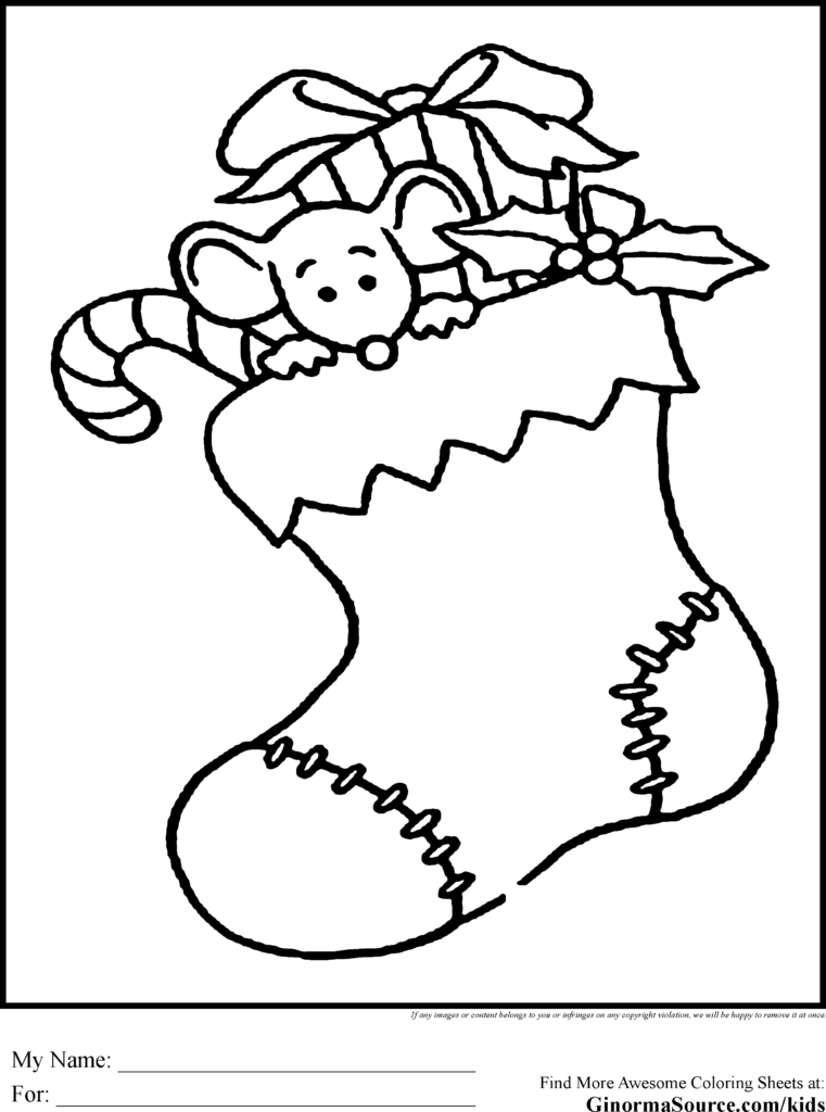 Christmas Coloring Pages Mistletoe With For Kids Stocking Pinterest