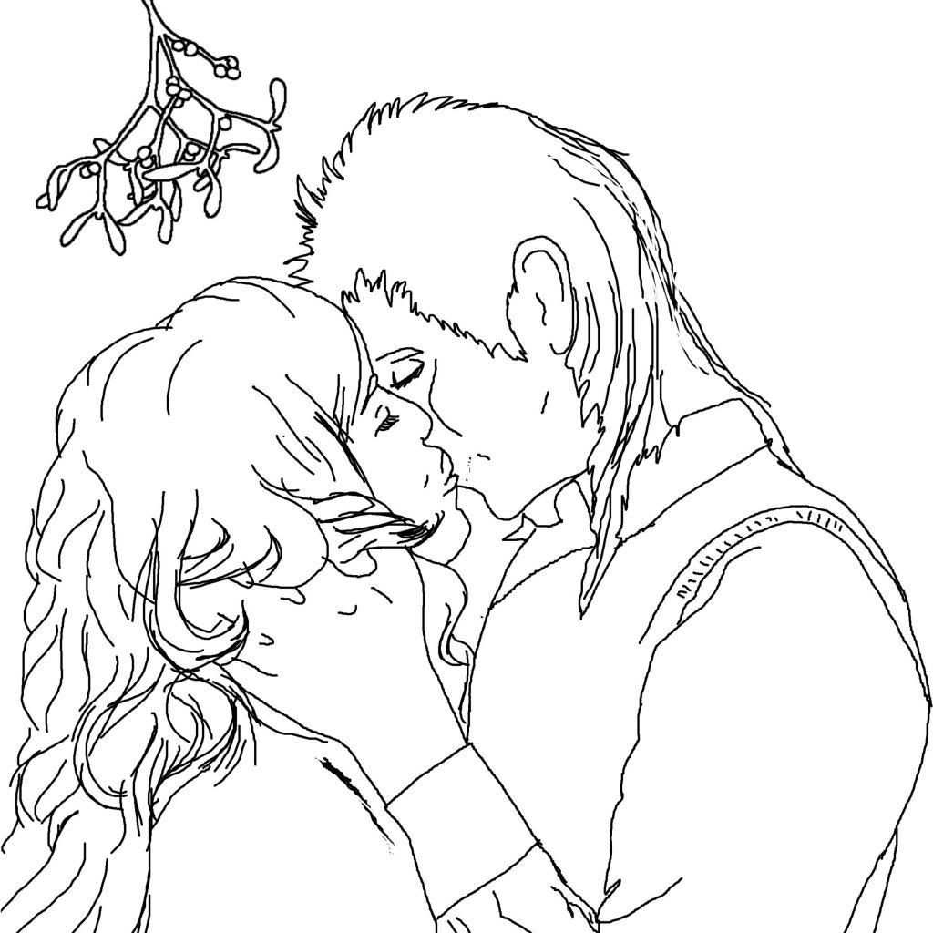 Christmas Coloring Pages Mistletoe With Kiss Under The Page