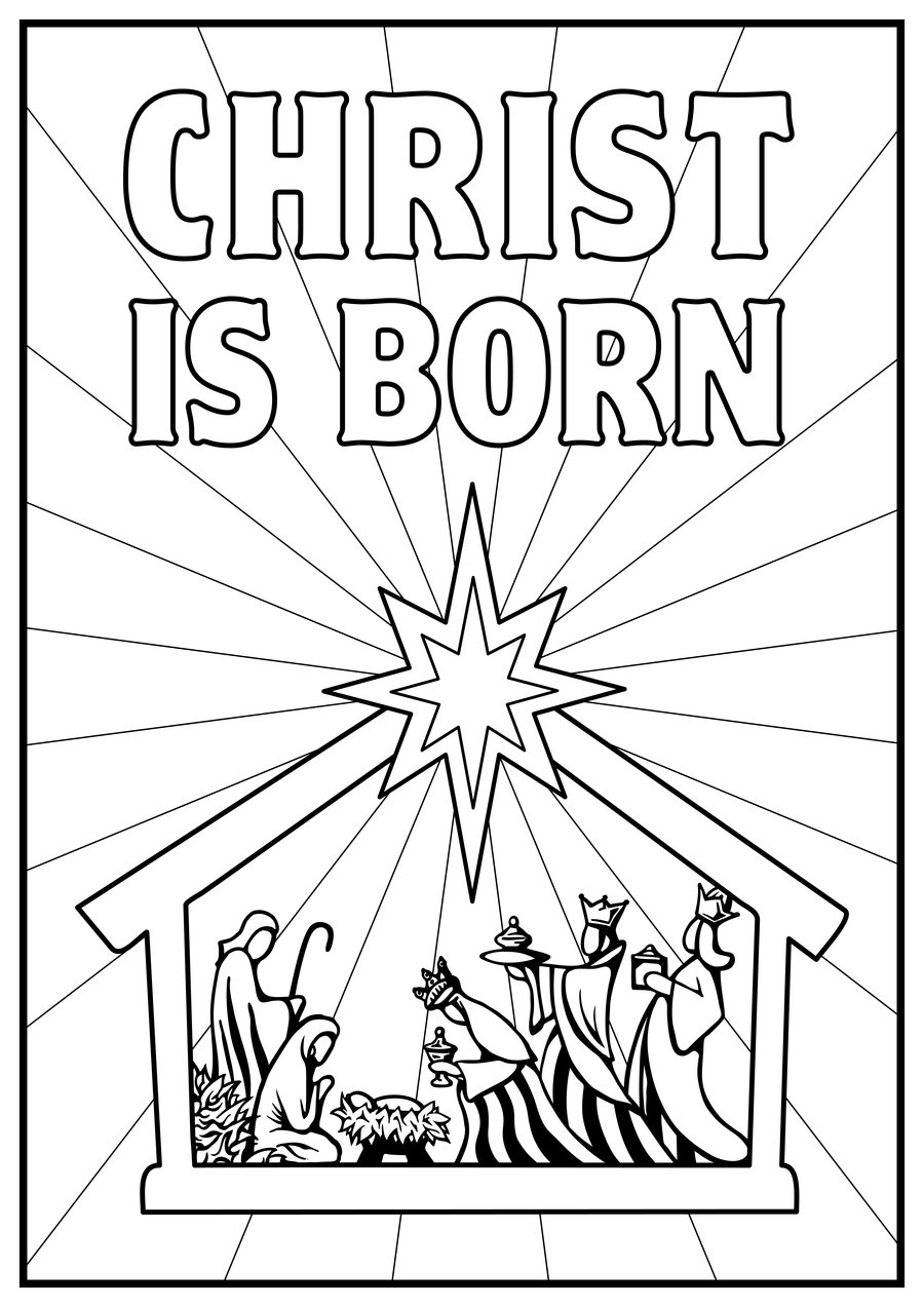 Christmas Coloring Pages Nativity With Born Of Jesus ColoringStar