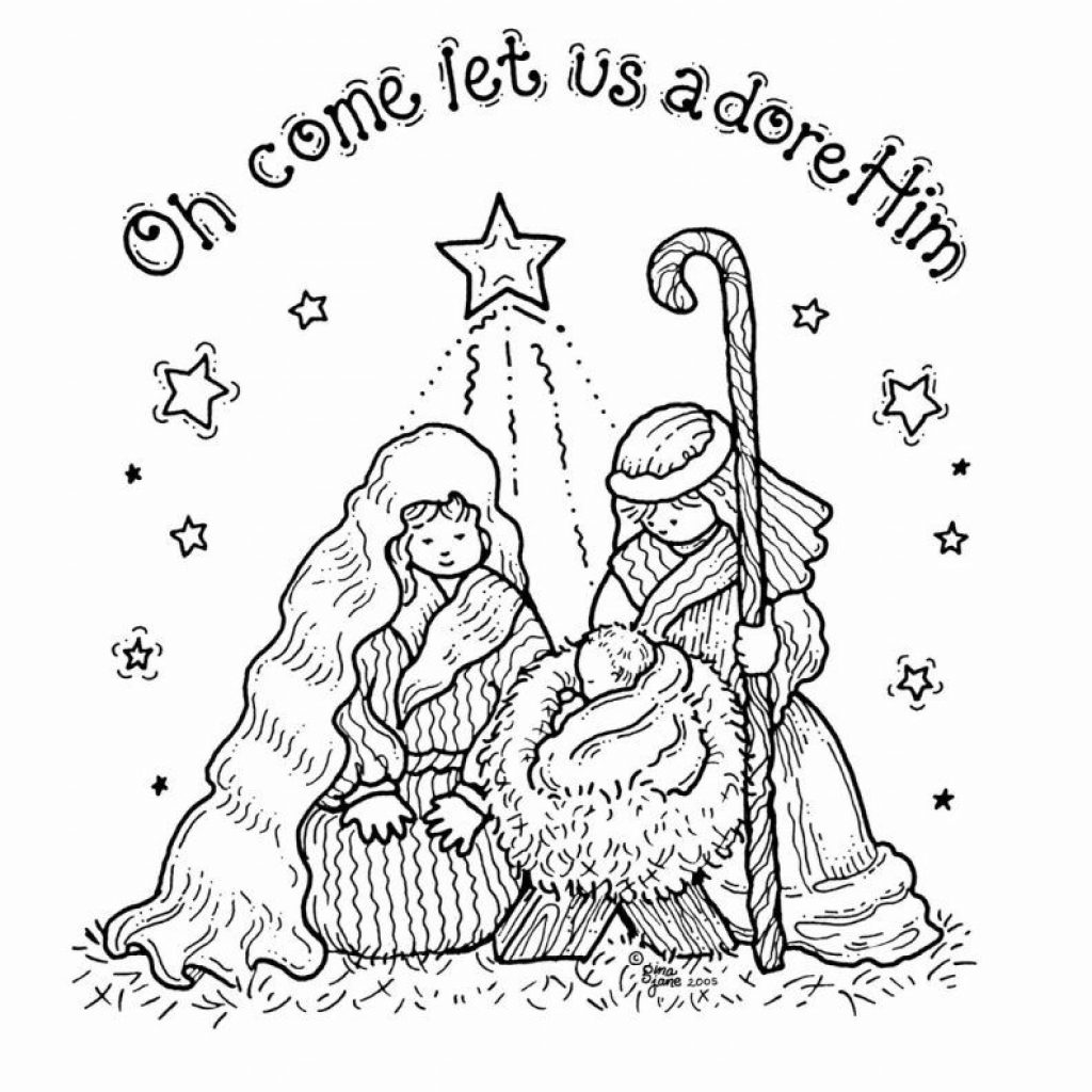Christmas Coloring Pages Nativity With Free Printable For Kids Holiday