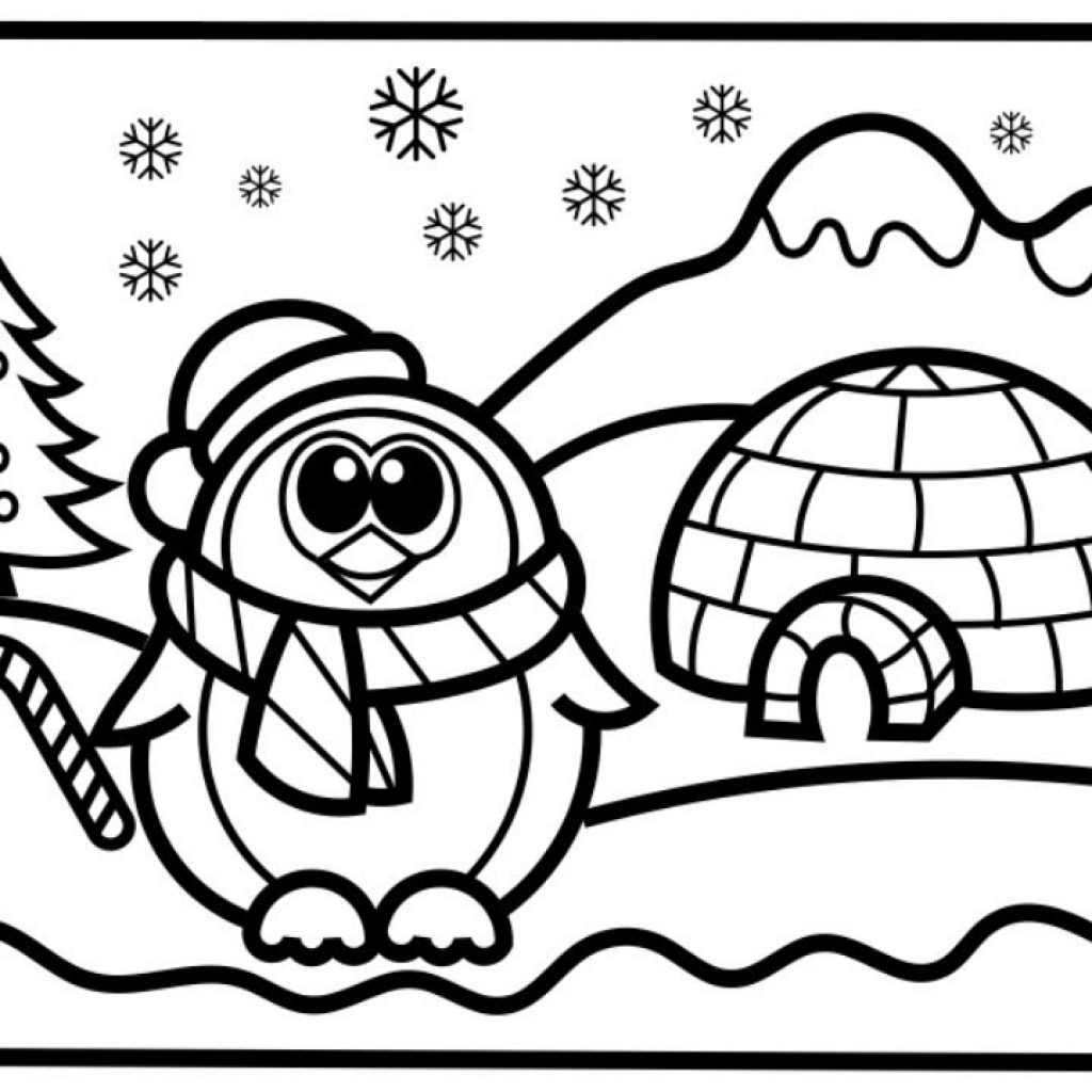 Christmas Coloring Pages North Pole With CHRISTMAS DRAWING And COLORING PAGE How To Draw A Penguin Step By