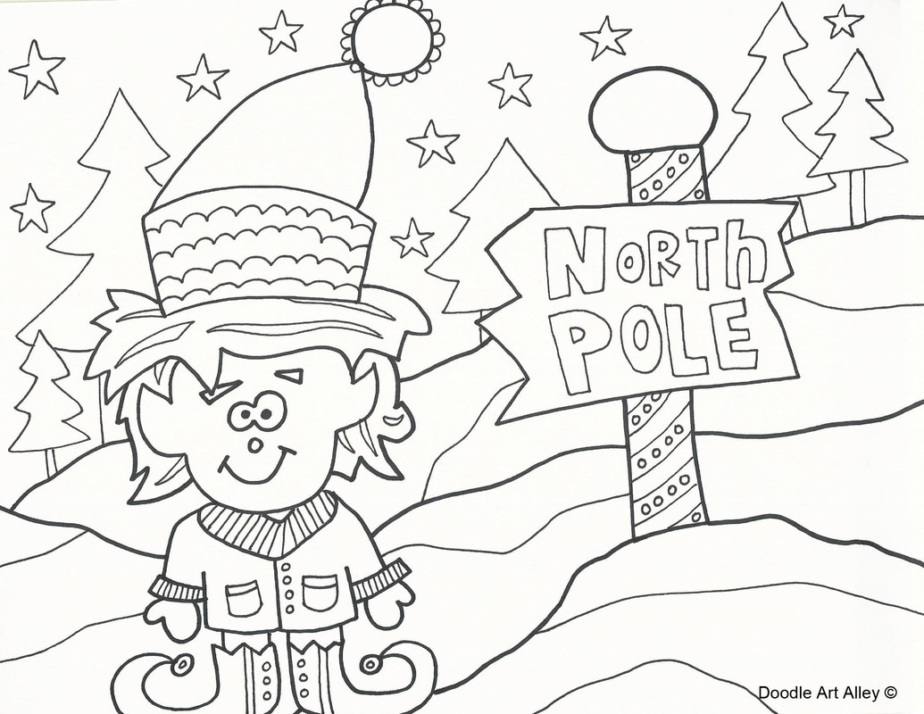 Christmas Coloring Pages North Pole With Doodle Art Alley