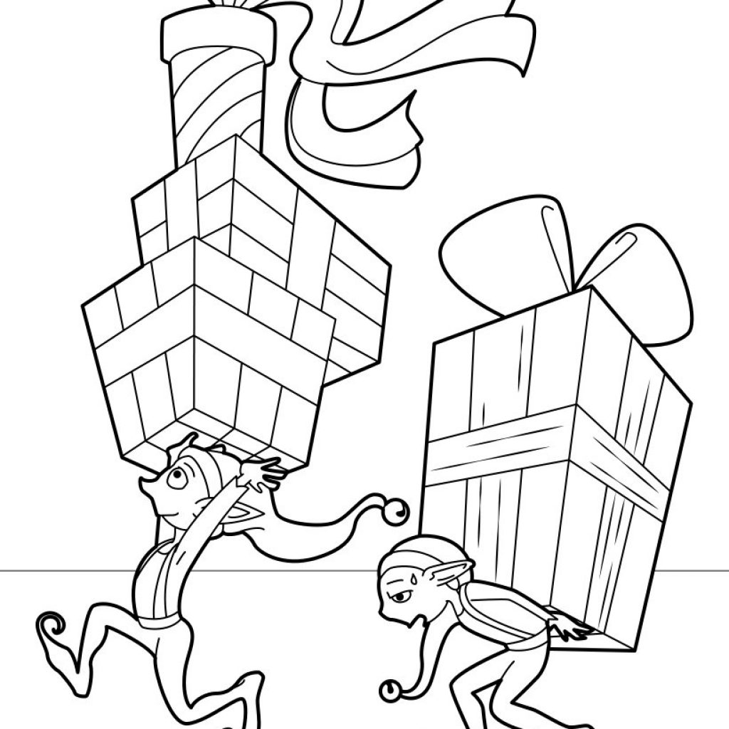 Christmas Coloring Pages North Pole With Gifts Factory Hellokids Com