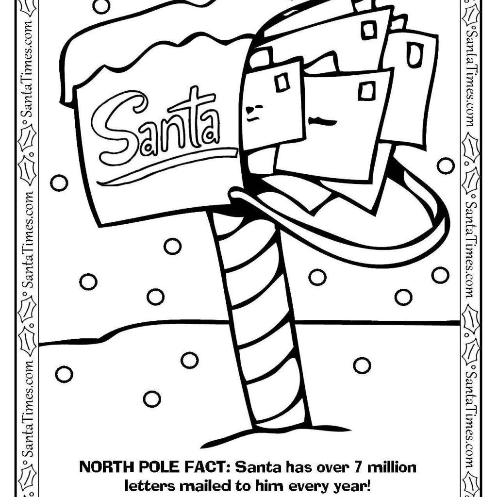 Christmas Coloring Pages North Pole With Santa S Mailbox Page Printout More Fun Holiday