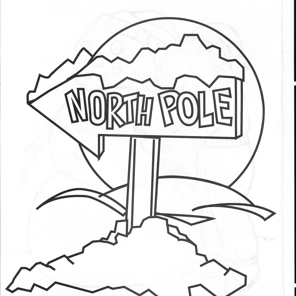 Christmas Coloring Pages North Pole With Sign