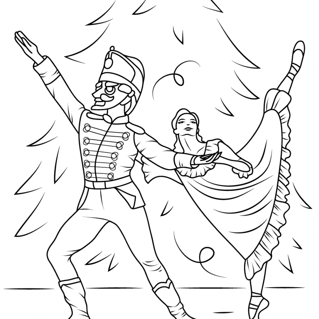 Christmas Coloring Pages Nutcracker With Ballet Page Free Printable