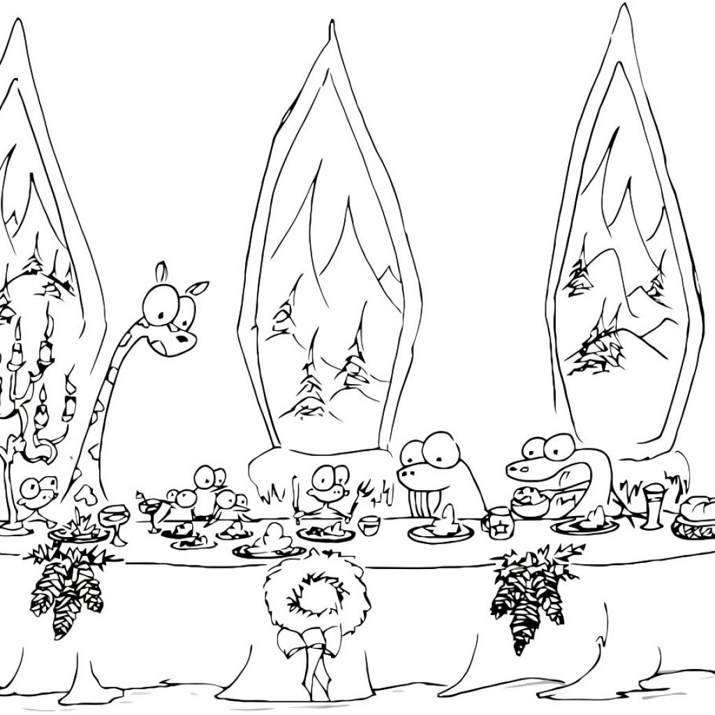 Christmas Coloring Pages Of Animals With A Dinner Page Monkeys Walrus And Some