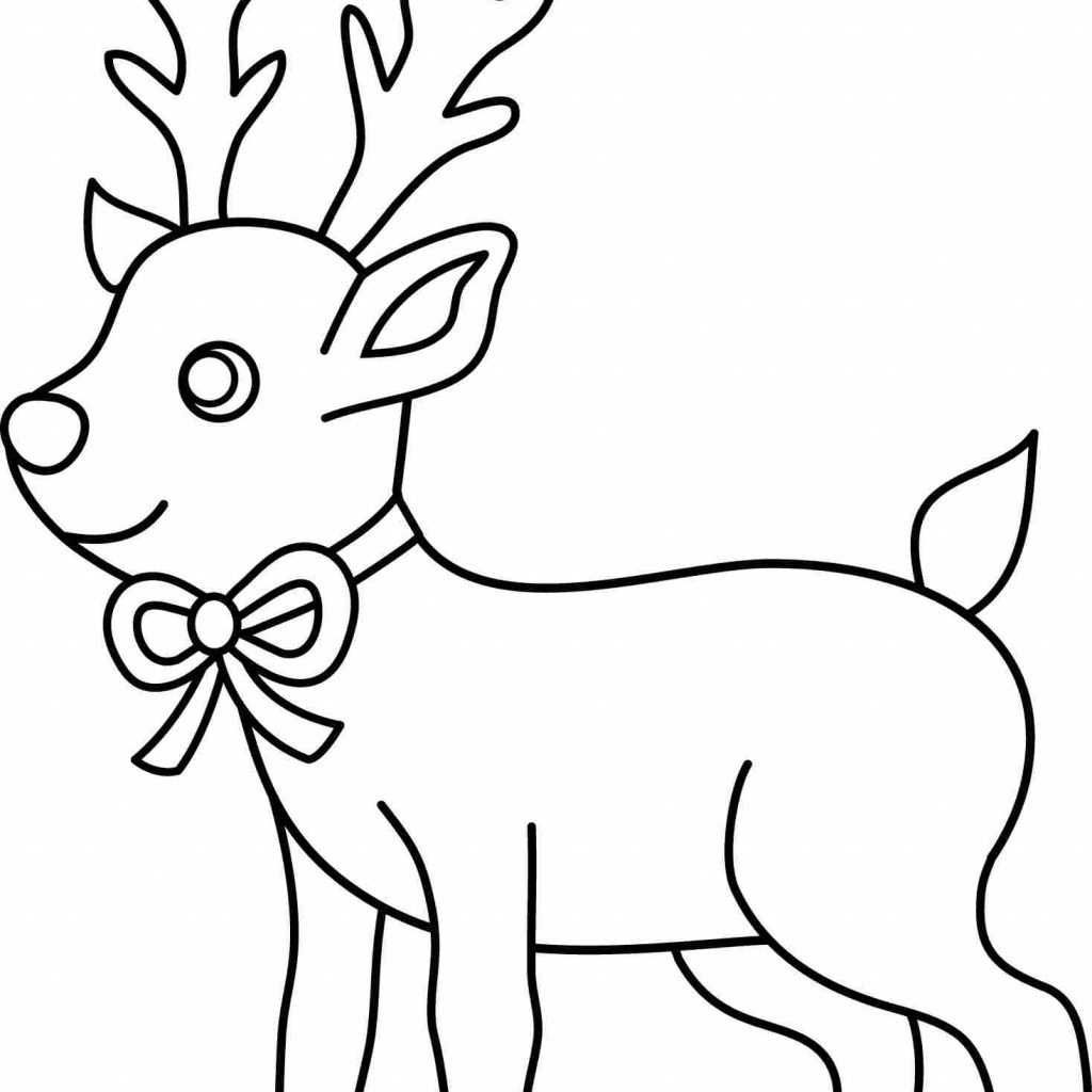 Christmas Coloring Pages Of Animals With Amusing Deer Free Page