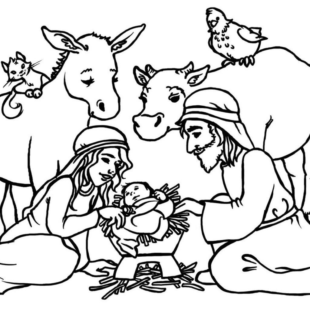 Christmas Coloring Pages Of Baby Jesus In A Manger With Free Black Pictures Download Clip Art