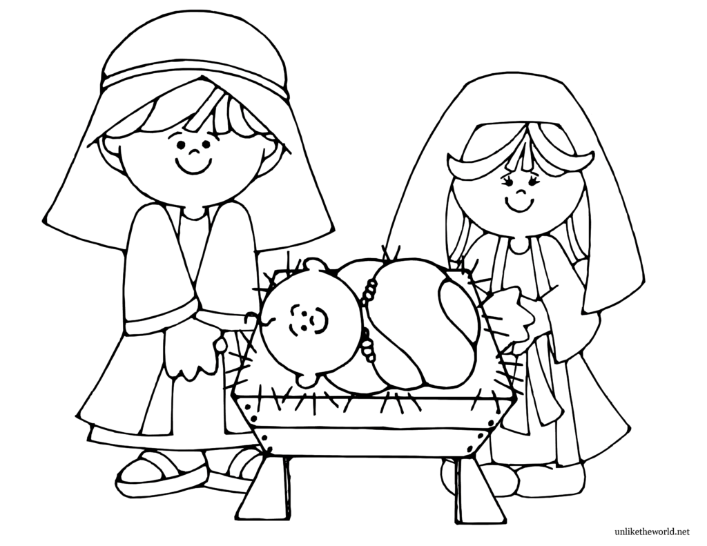 Christmas Coloring Pages Of Baby Jesus In A Manger With Free Books