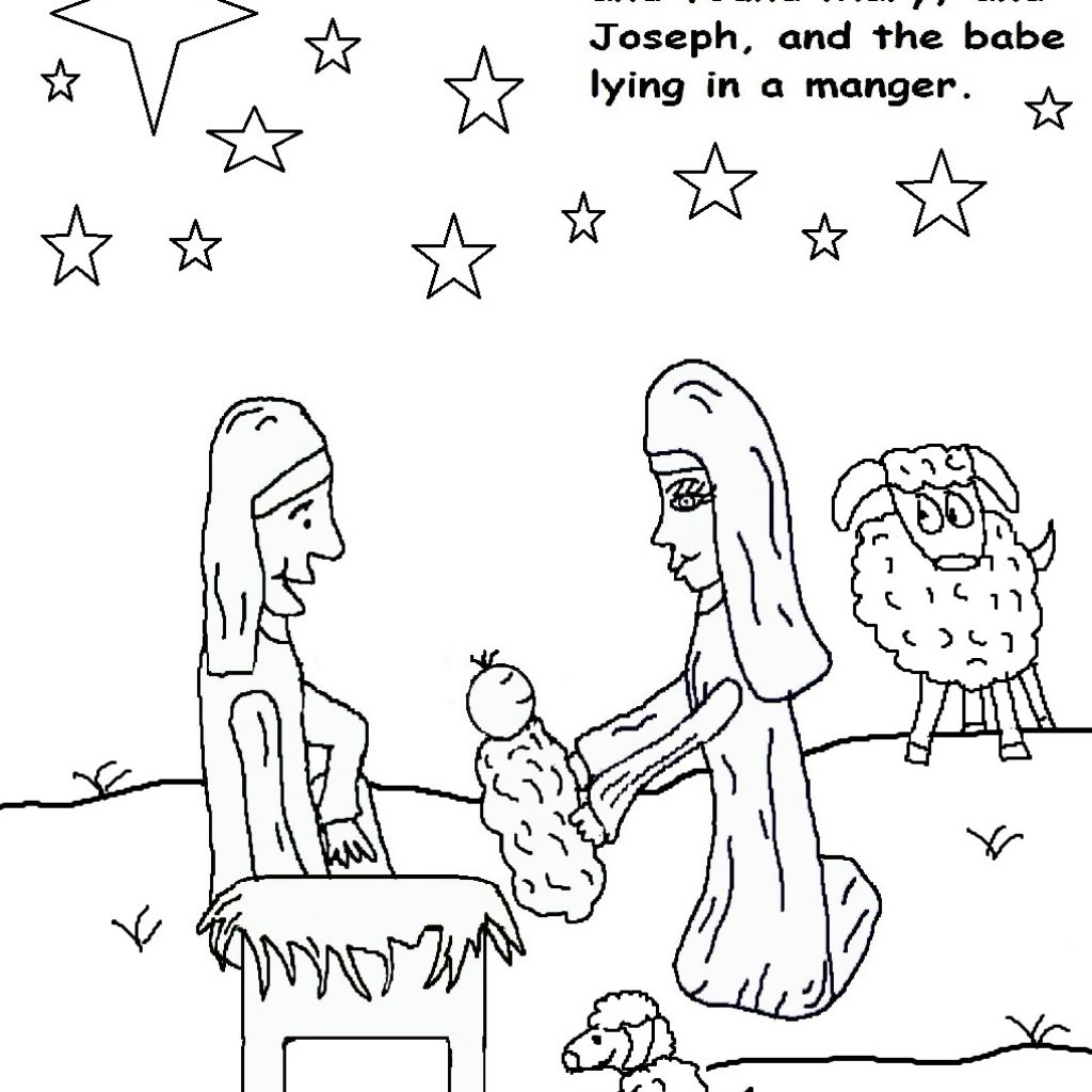 Christmas Coloring Pages Of Baby Jesus In A Manger With Is Born Free Library