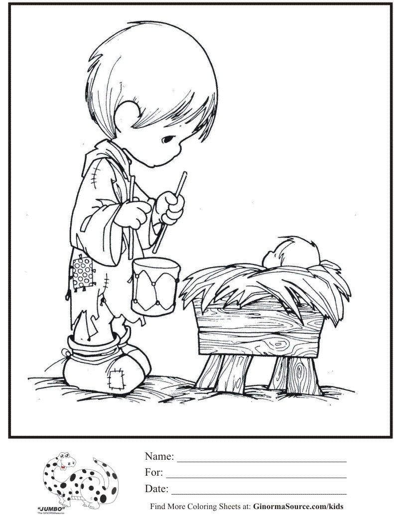 Christmas Coloring Pages Of Baby Jesus In A Manger With Kids Page Precious Moments Little Drummer Boy
