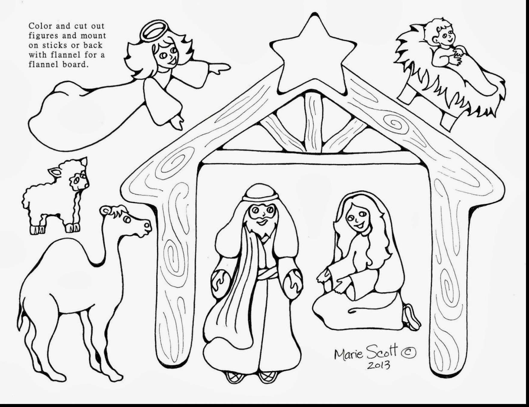 Christmas Coloring Pages Of Baby Jesus In A Manger With Nativity Scene Futurama Me