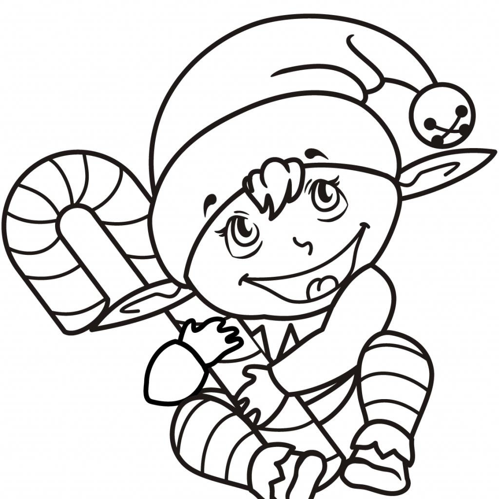 Christmas Coloring Pages Of Candy Canes With Cute Elf Cane Page Free Printable