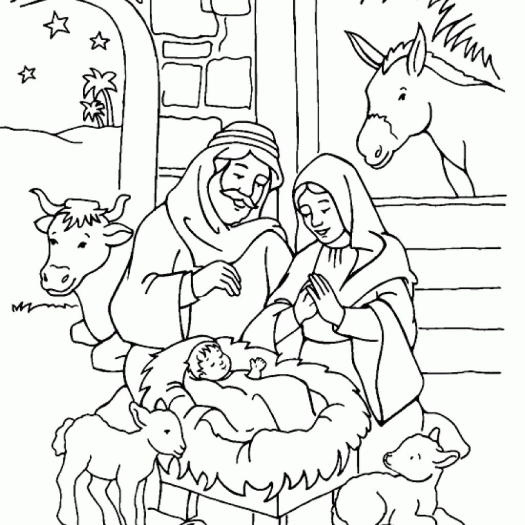 Christmas Coloring Pages Of Jesus With Complete Nativity Pictures To Color Free