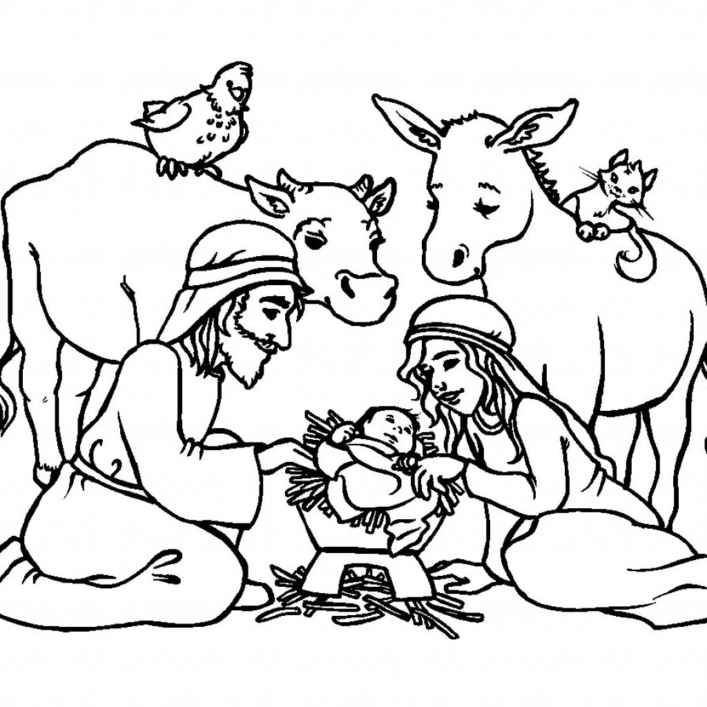 Christmas Coloring Pages Of Jesus With Manger Printable Page For Kids