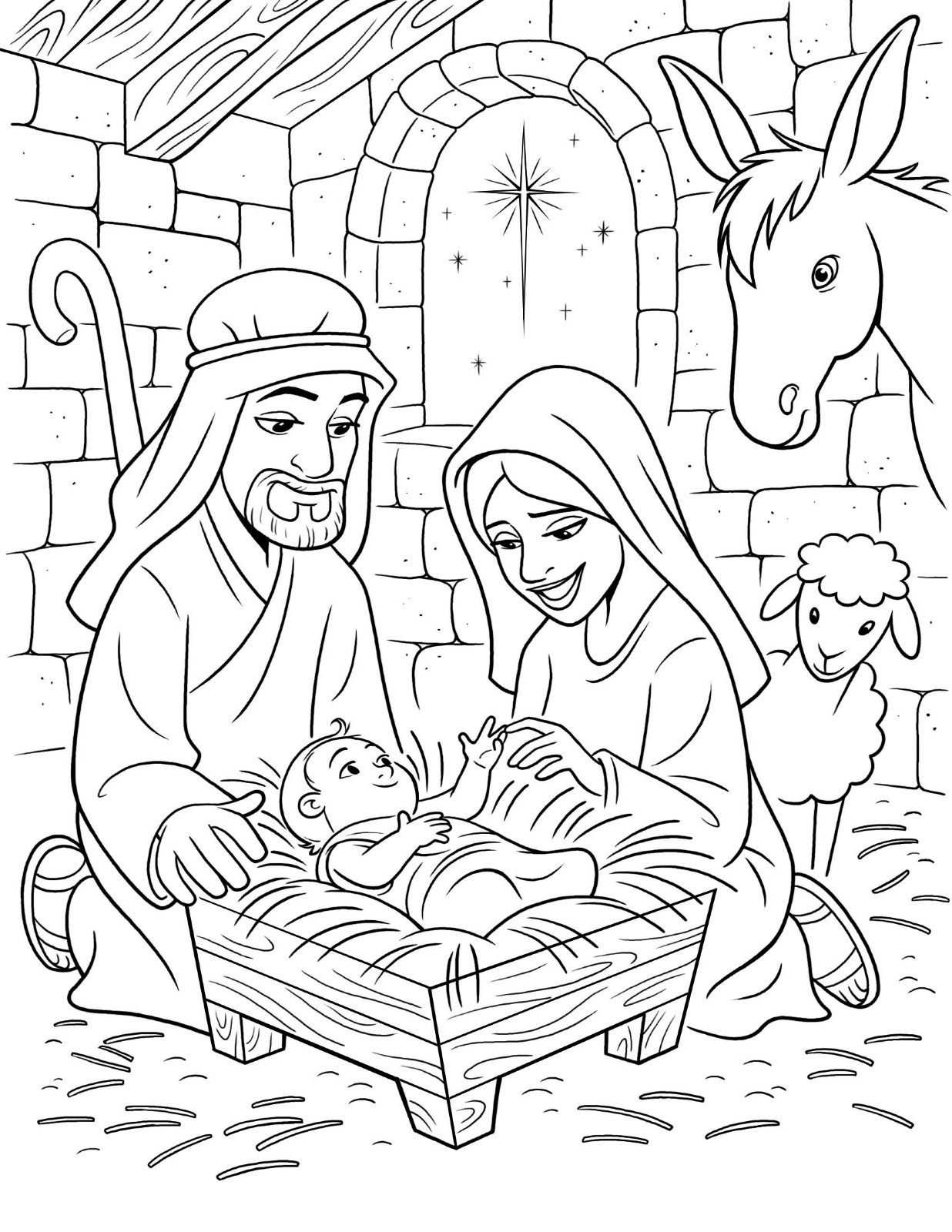Christmas Coloring Pages Of Jesus With Religious Is Born Free Printable