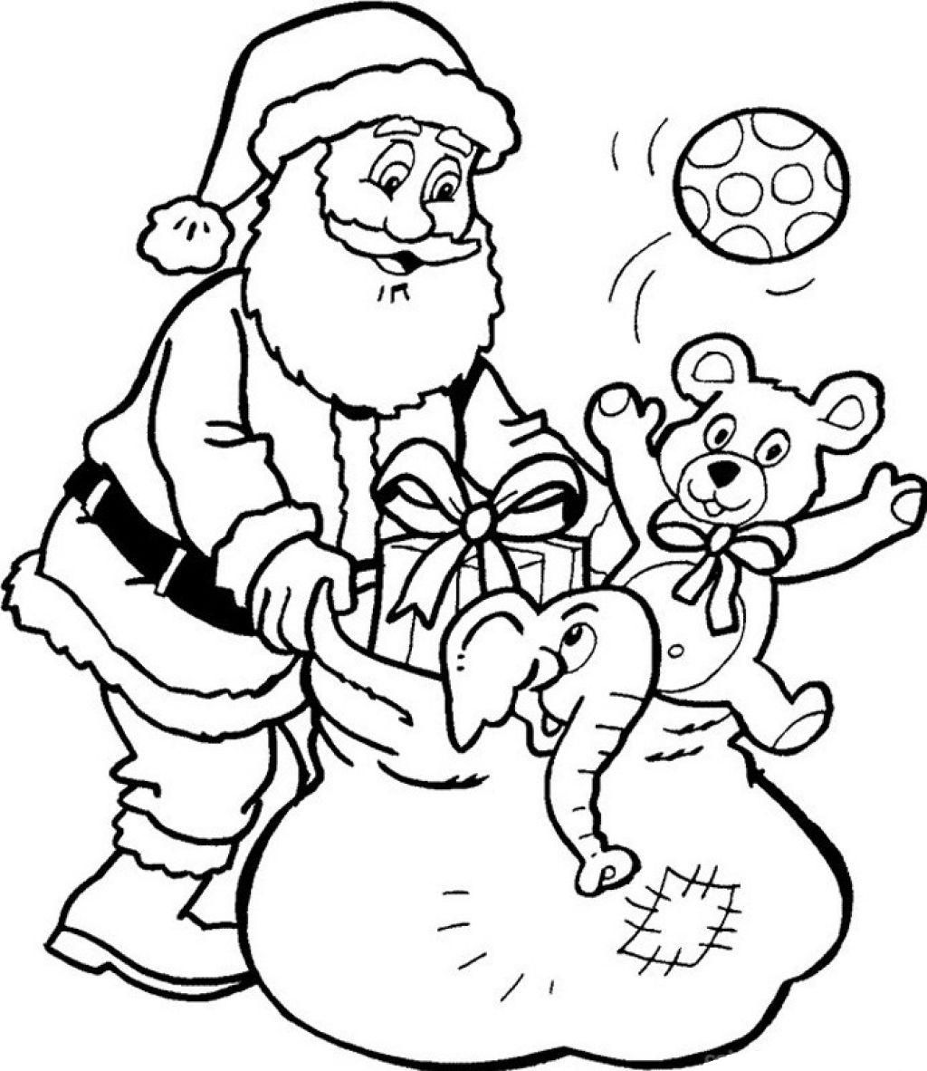 Christmas Coloring Pages Of Santa With Claus And Presents Printable Some
