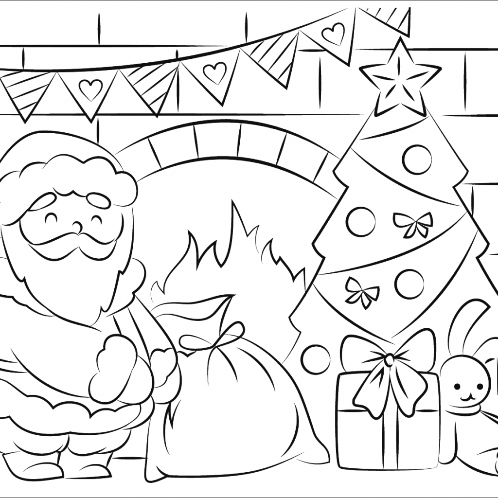 Christmas Coloring Pages Of Santa With Claus Bringing Presents In Page Free