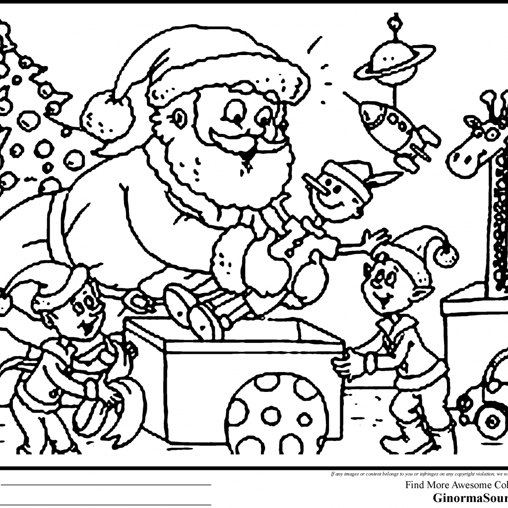 Christmas Coloring Pages Of Santa With For Adults Here Is Supervising The