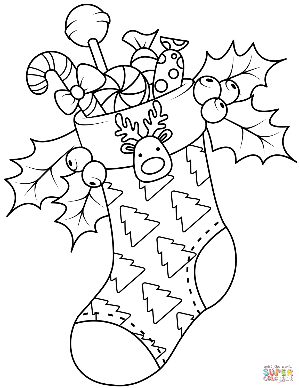 Christmas Coloring Pages Of Stockings With Free