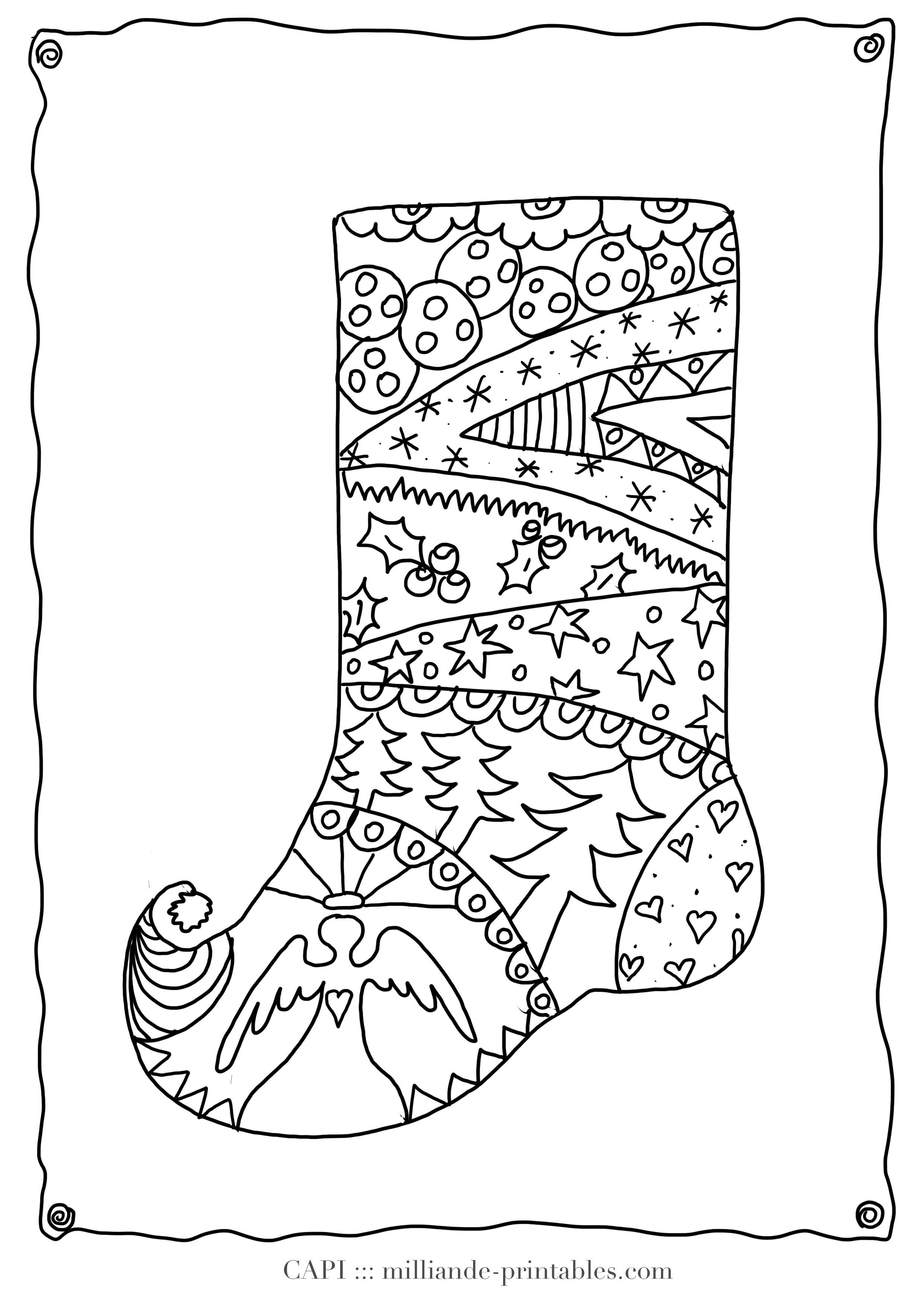 Christmas Coloring Pages Of Stockings With Printable New Stocking To