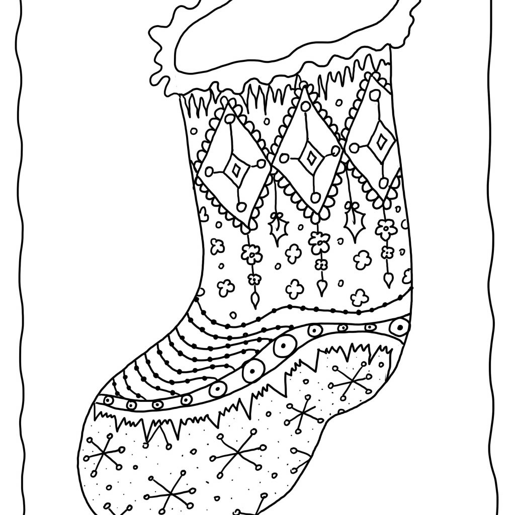 Christmas Coloring Pages Of Stockings With Printable Refrence Stocking