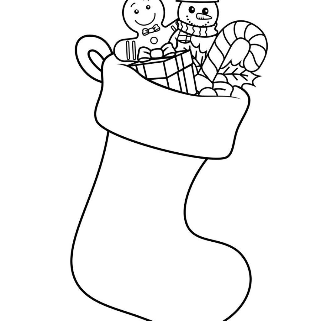 Christmas Coloring Pages Of Stockings With Stocking Page Stocking525156