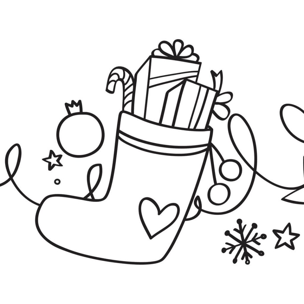 Christmas Coloring Pages Of Stockings With Xmas Stocking Page Free Printable