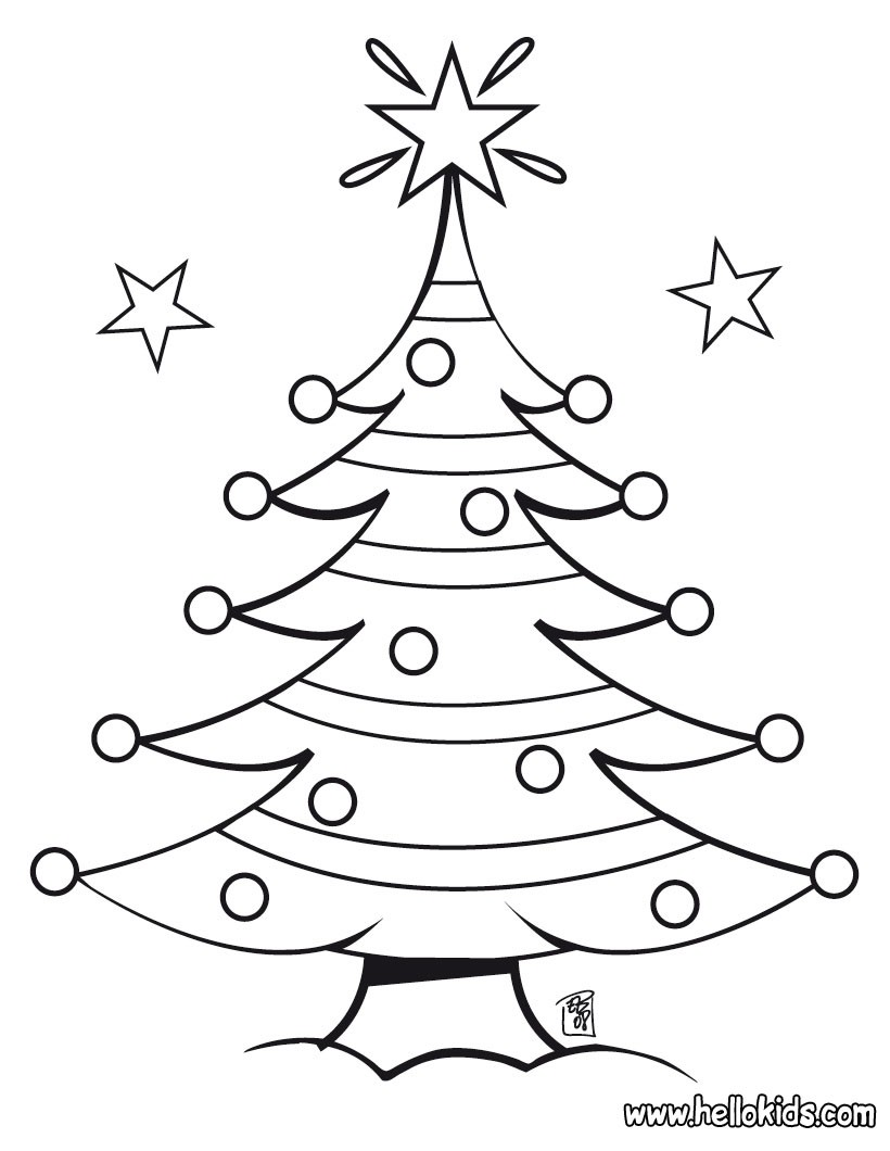 Christmas Coloring Pages Of Trees With Decorated Tree Hellokids Com