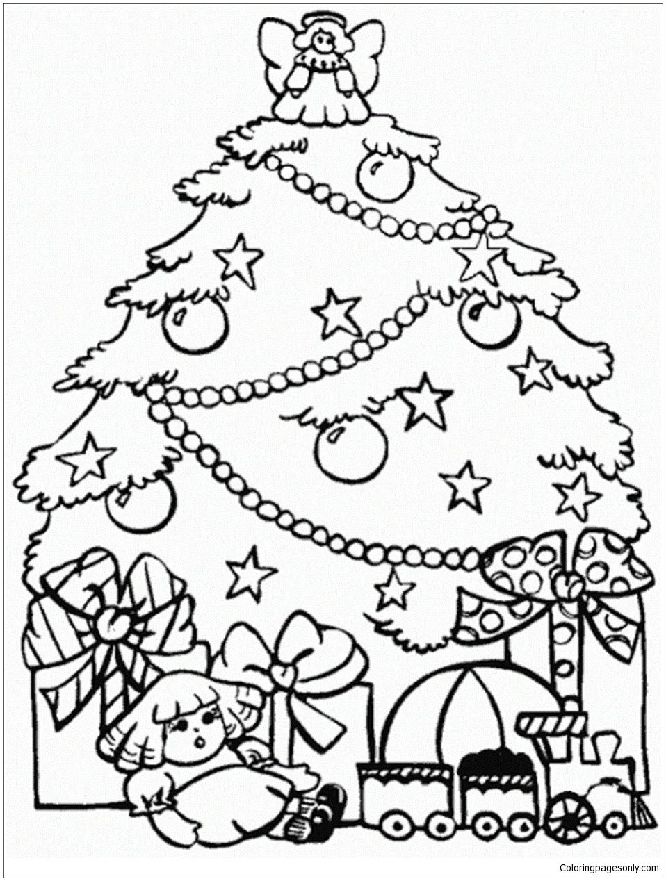 Christmas Coloring Pages Of Trees With Presents And Tree Page
