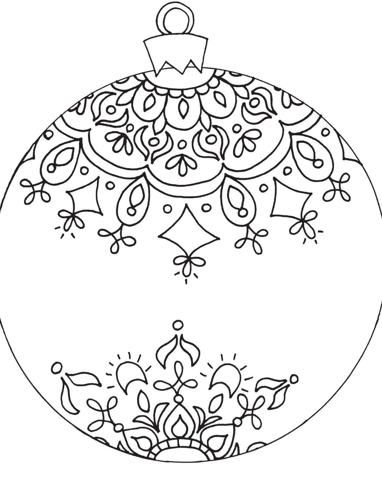 Christmas Coloring Pages Ornaments Printable With Decorations Inspirationa Tree
