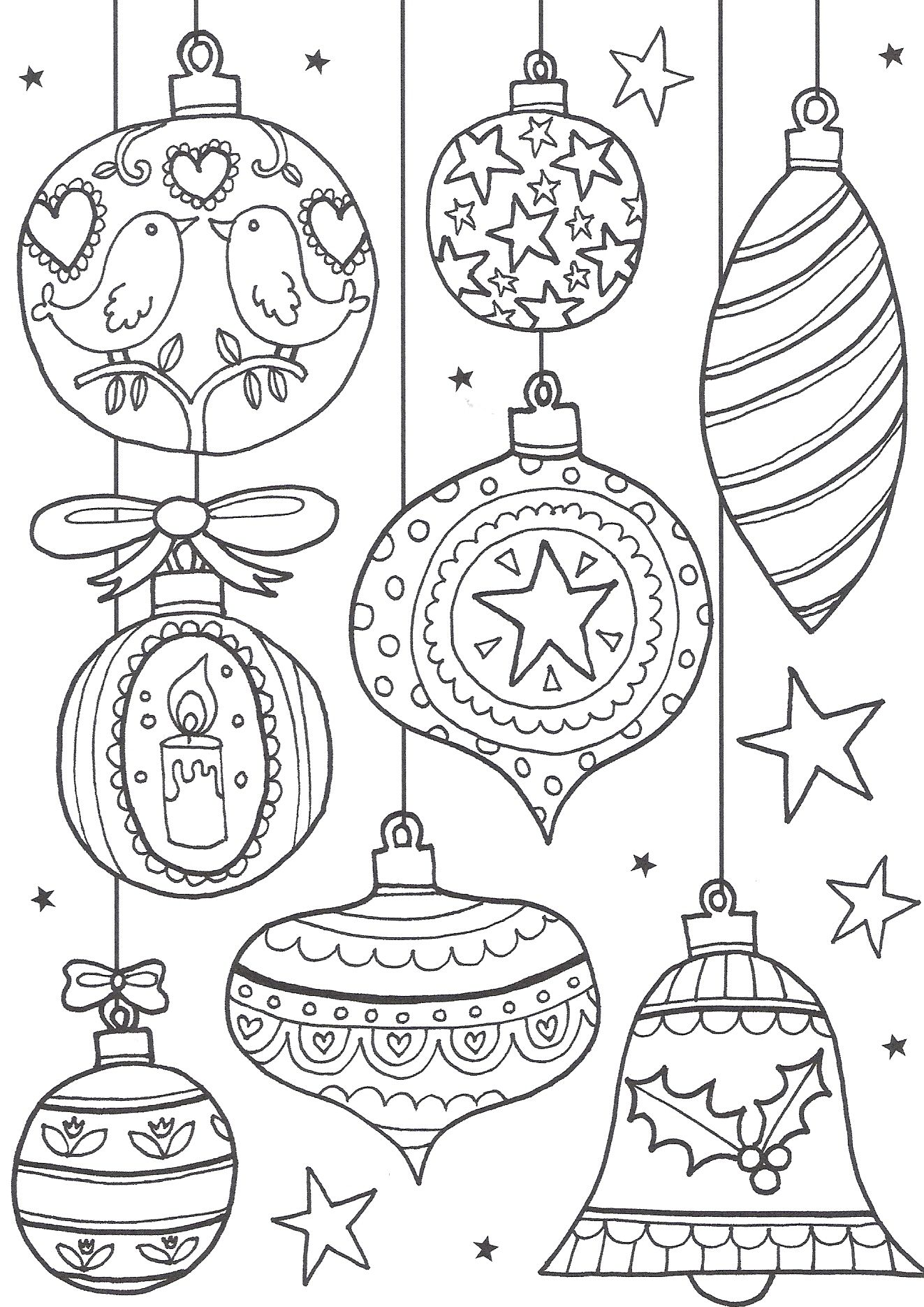 Christmas Coloring Pages Ornaments With 8 Free Printable For